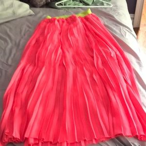 Hot pink with green waistband ruffled skirt